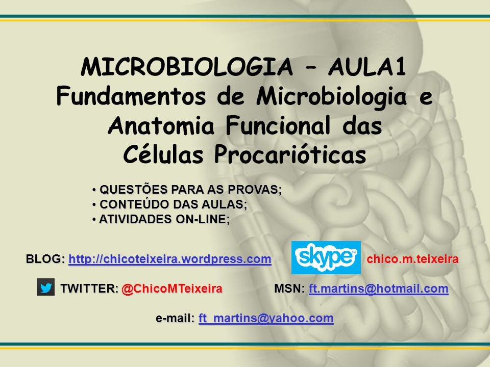 Células Procarióticas e-mail: ft_martins@yahoo.com