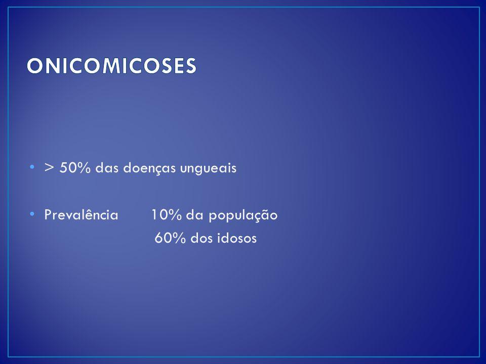 ONICOMICOSES > 50% das doenças ungueais