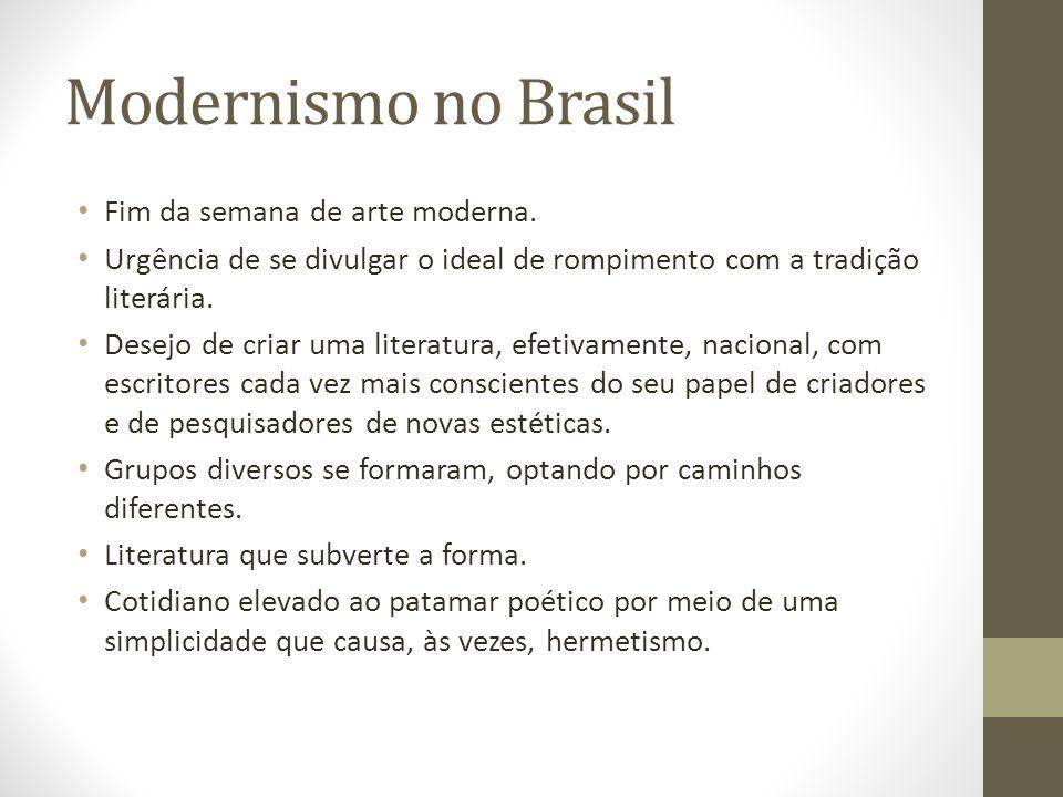Modernismo no Brasil Fim da semana de arte moderna.