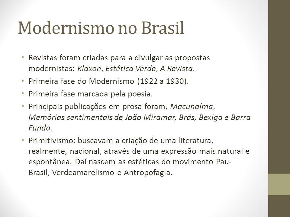 Modernismo no Brasil Revistas foram criadas para a divulgar as propostas modernistas: Klaxon, Estética Verde, A Revista.