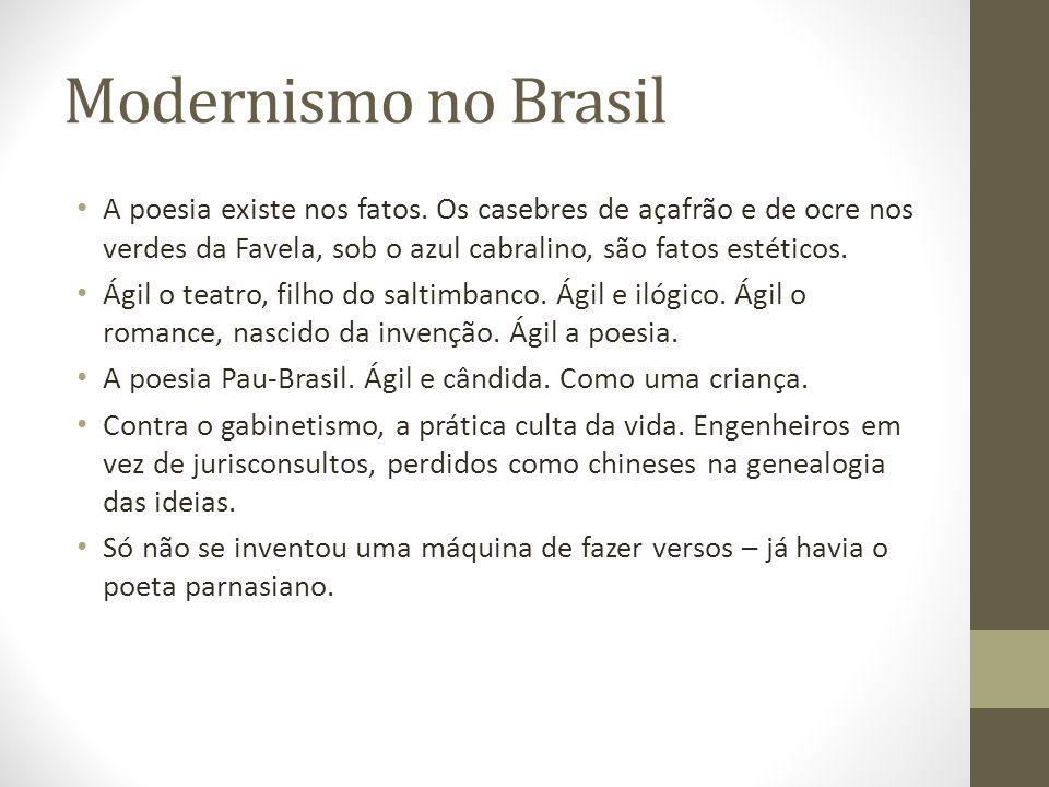 Modernismo no Brasil A poesia existe nos fatos. Os casebres de açafrão e de ocre nos verdes da Favela, sob o azul cabralino, são fatos estéticos.