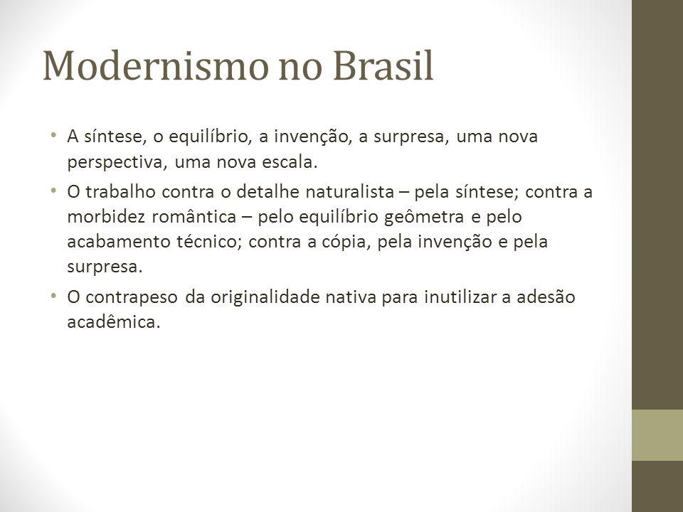 Modernismo no Brasil A síntese, o equilíbrio, a invenção, a surpresa, uma nova perspectiva, uma nova escala.