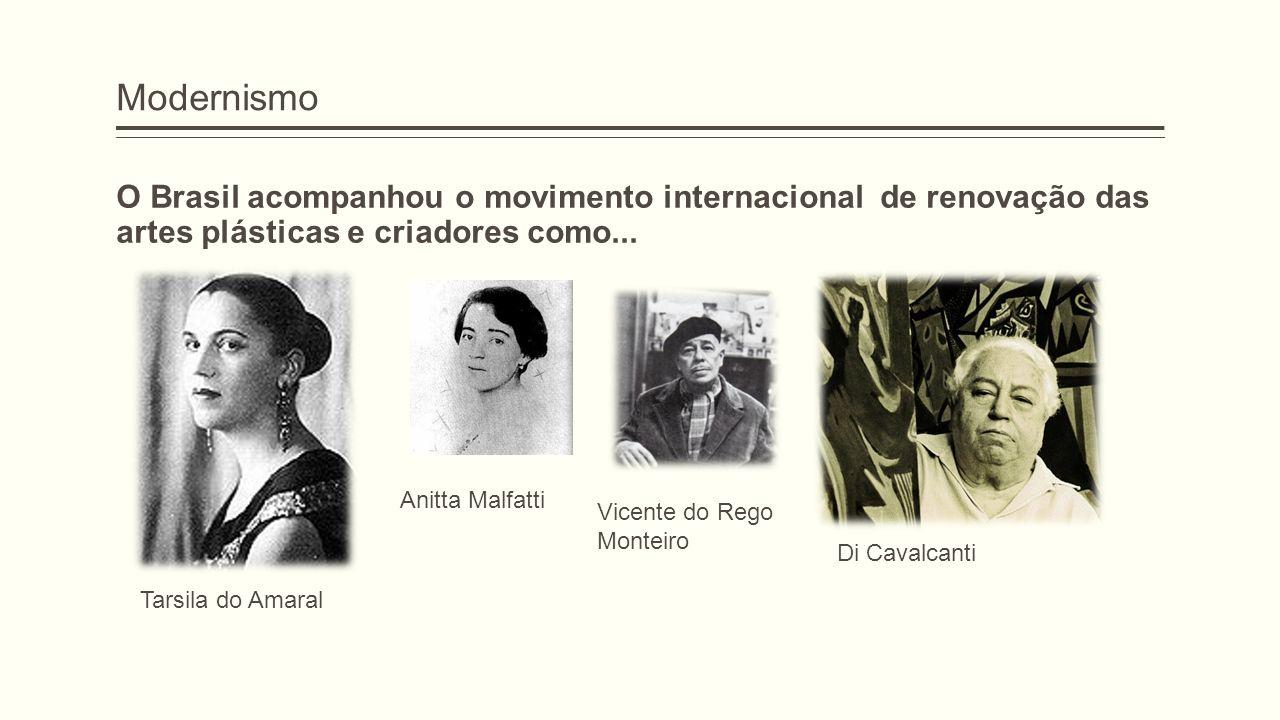 Modernismo O Brasil acompanhou o movimento internacional de renovação das artes plásticas e criadores como...