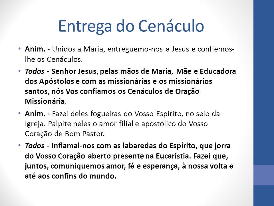 Entrega do Cenáculo Anim. - Unidos a Maria, entreguemo-nos a Jesus e confiemos-lhe os Cenáculos.
