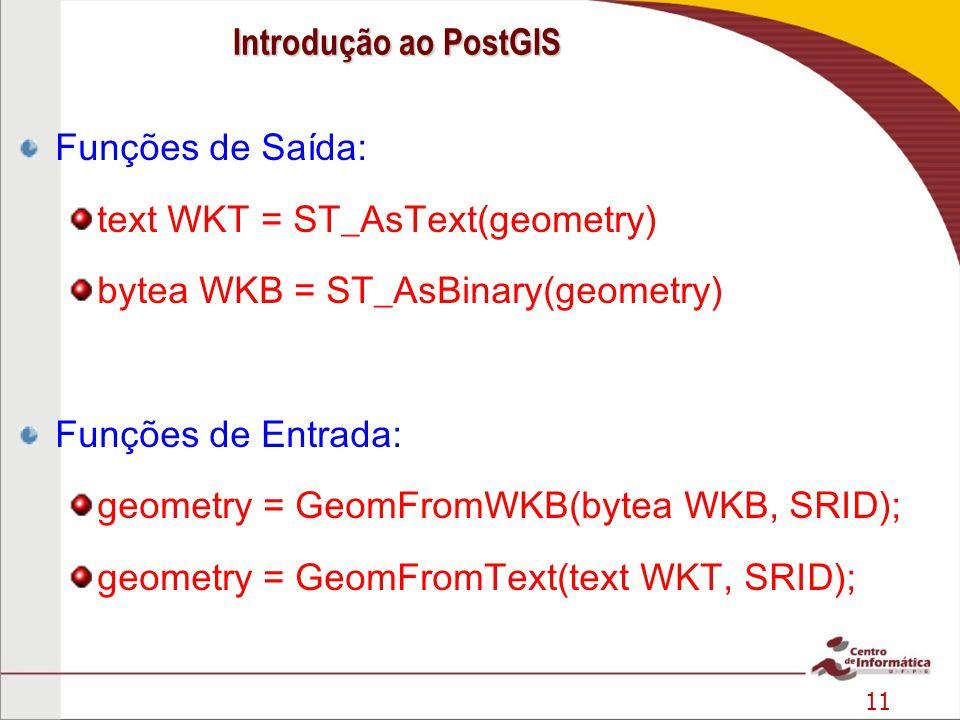 Introdução ao PostGIS Funções de Saída: text WKT = ST_AsText(geometry) bytea WKB = ST_AsBinary(geometry)