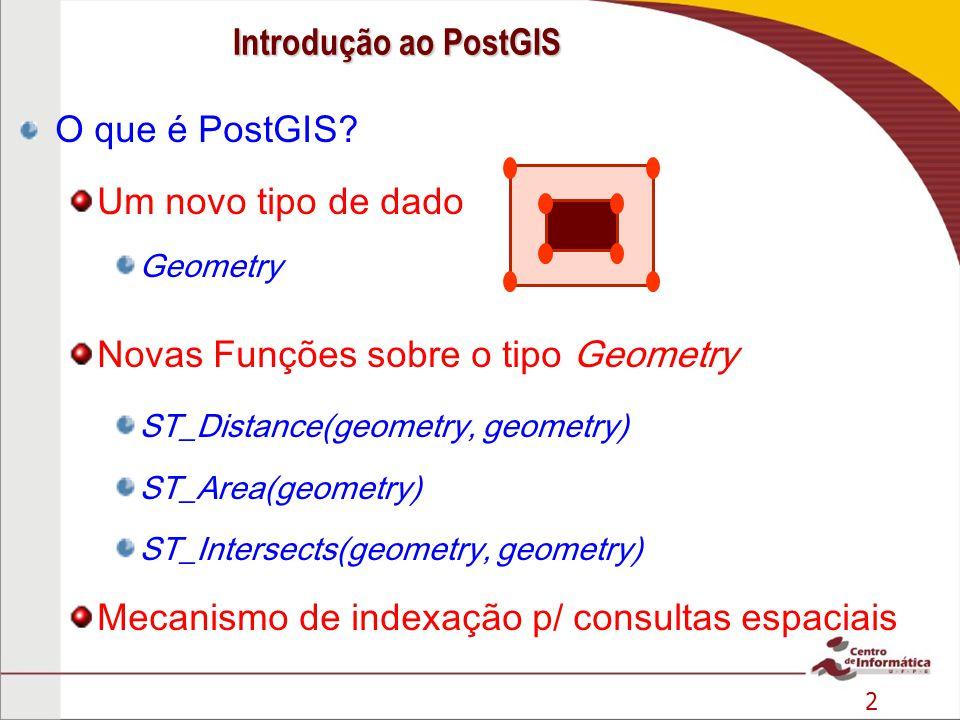 Novas Funções sobre o tipo Geometry