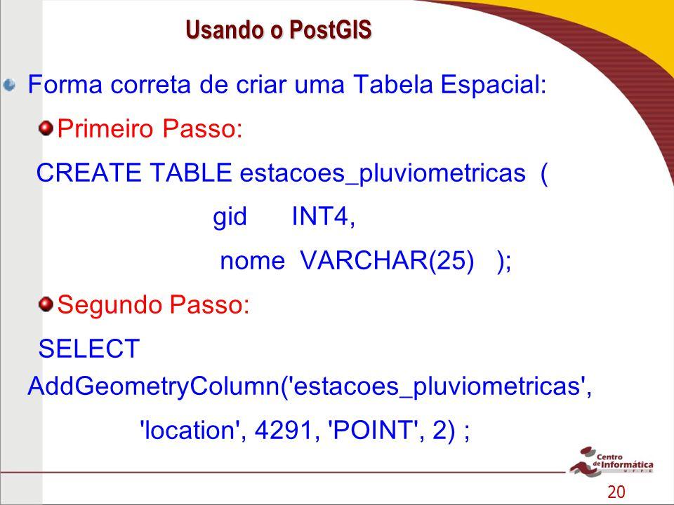 Usando o PostGIS Forma correta de criar uma Tabela Espacial: Primeiro Passo: CREATE TABLE estacoes_pluviometricas (