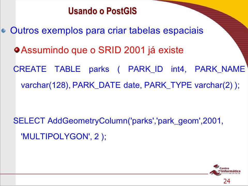 Outros exemplos para criar tabelas espaciais
