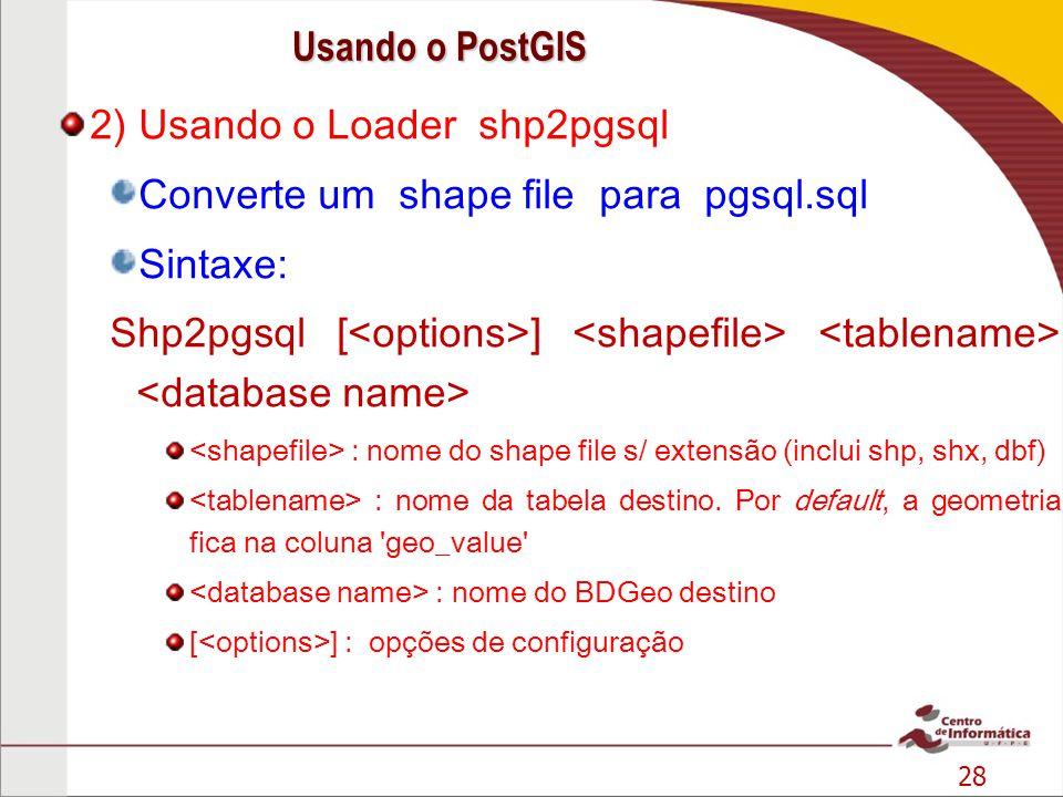 2) Usando o Loader shp2pgsql Converte um shape file para pgsql.sql