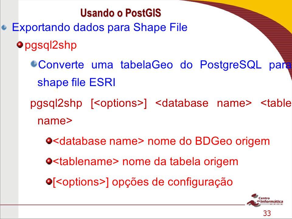 Usando o PostGIS Exportando dados para Shape File. pgsql2shp. Converte uma tabelaGeo do PostgreSQL para shape file ESRI.