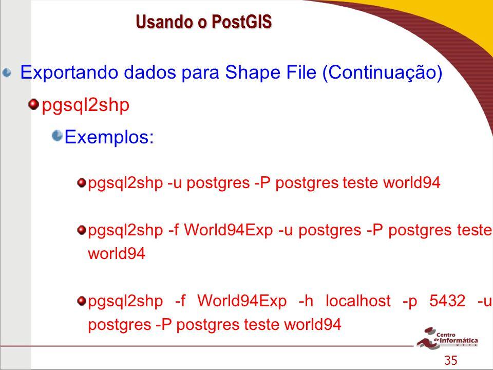 Exportando dados para Shape File (Continuação) pgsql2shp Exemplos: