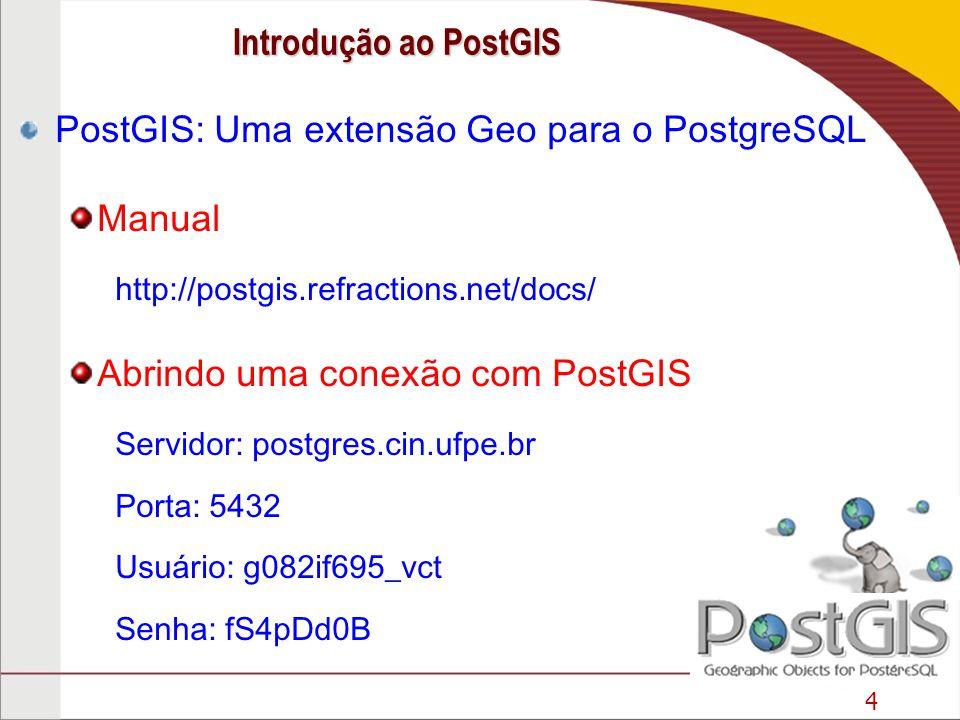 PostGIS: Uma extensão Geo para o PostgreSQL Manual