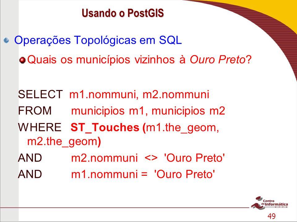 Operações Topológicas em SQL