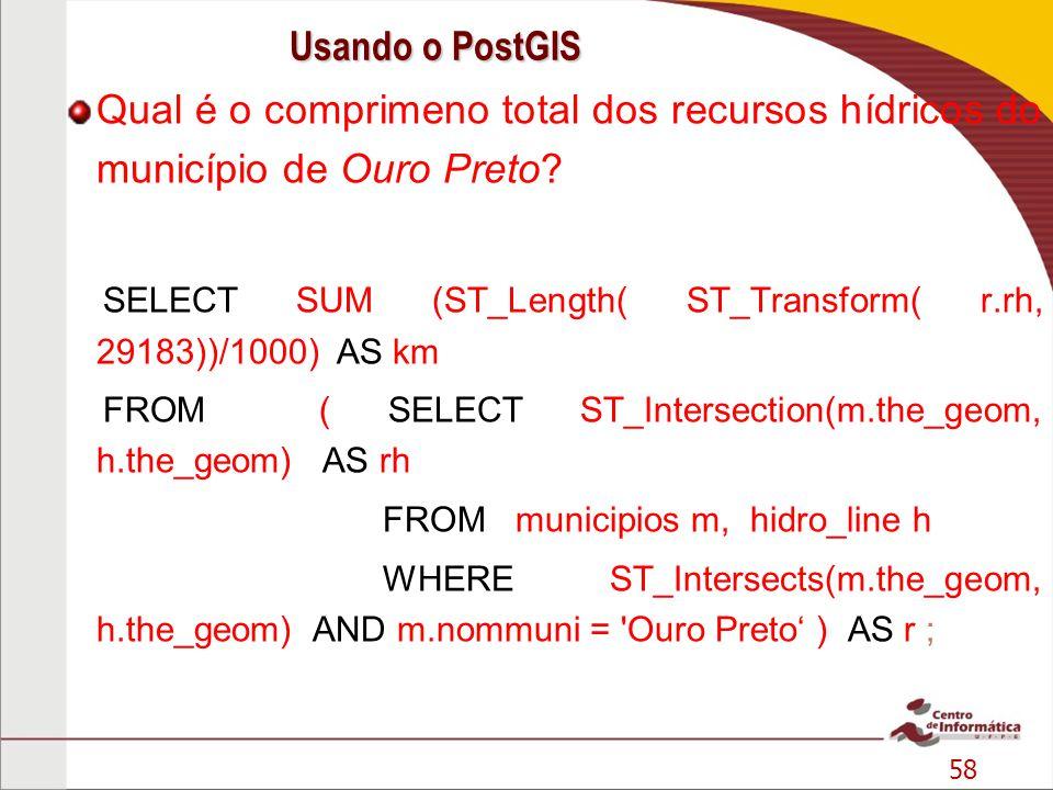 Usando o PostGIS Qual é o comprimeno total dos recursos hídricos do município de Ouro Preto