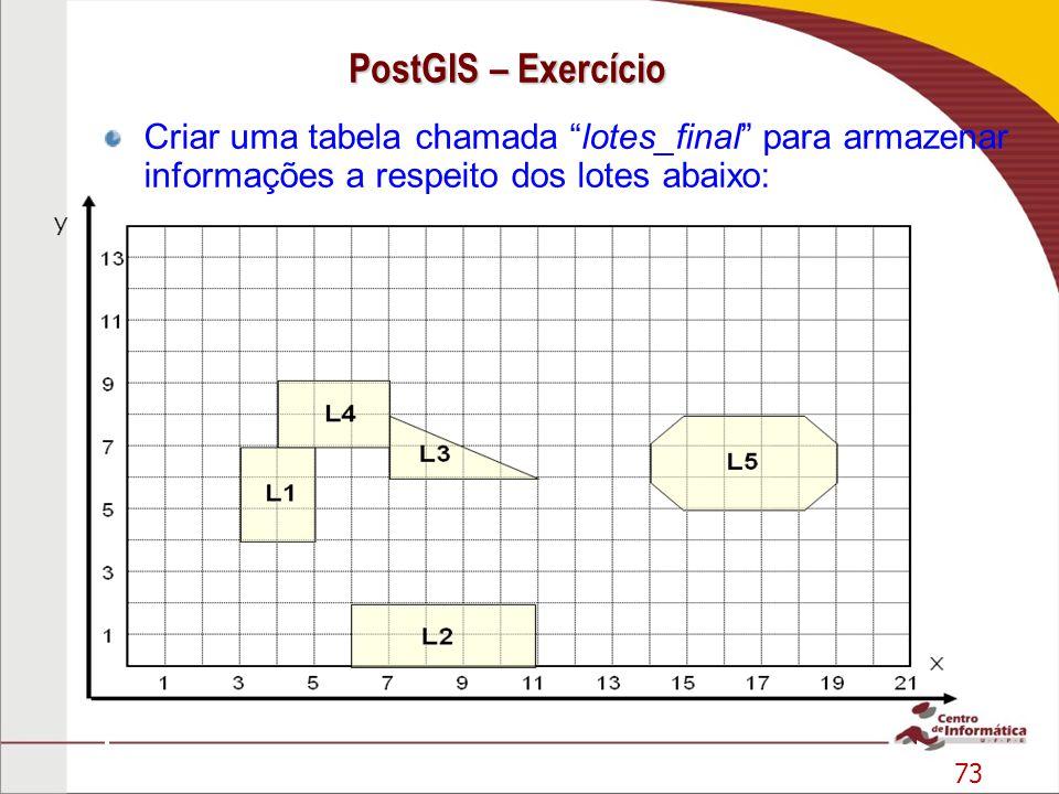 PostGIS – Exercício Criar uma tabela chamada lotes_final para armazenar informações a respeito dos lotes abaixo: