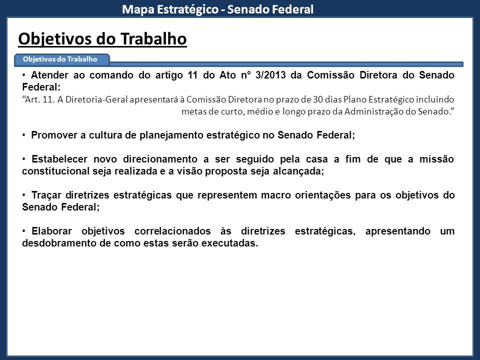 Objetivos do Trabalho Mapa Estratégico - Senado Federal