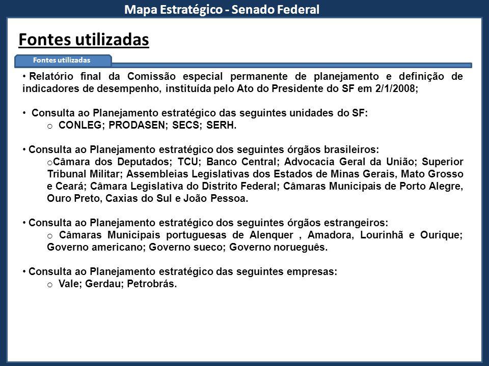 Fontes utilizadas Mapa Estratégico - Senado Federal