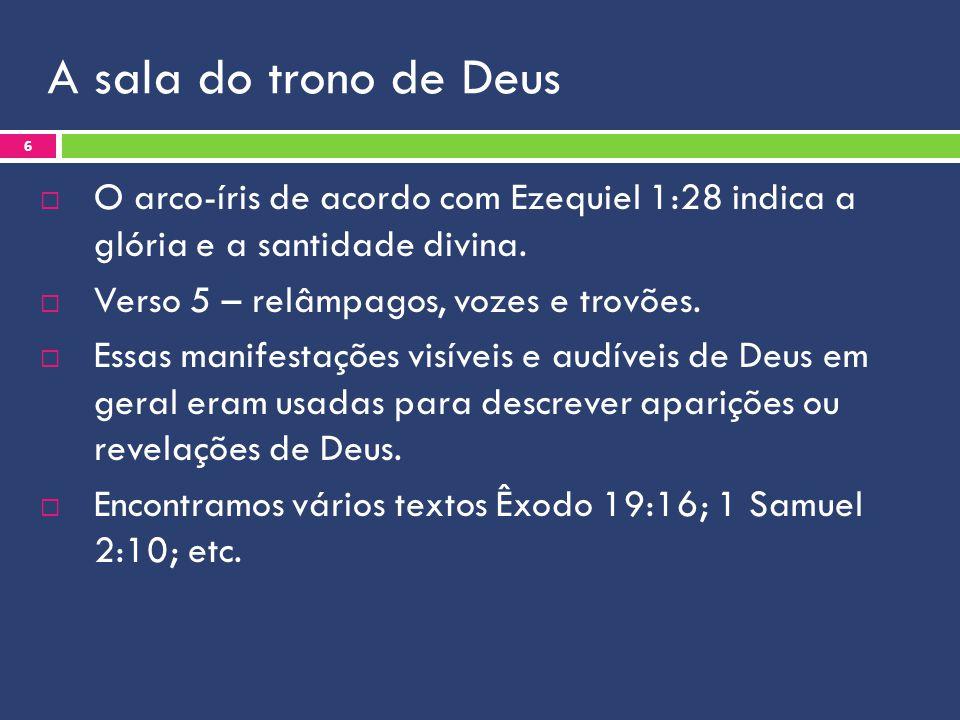 A sala do trono de Deus O arco-íris de acordo com Ezequiel 1:28 indica a glória e a santidade divina.