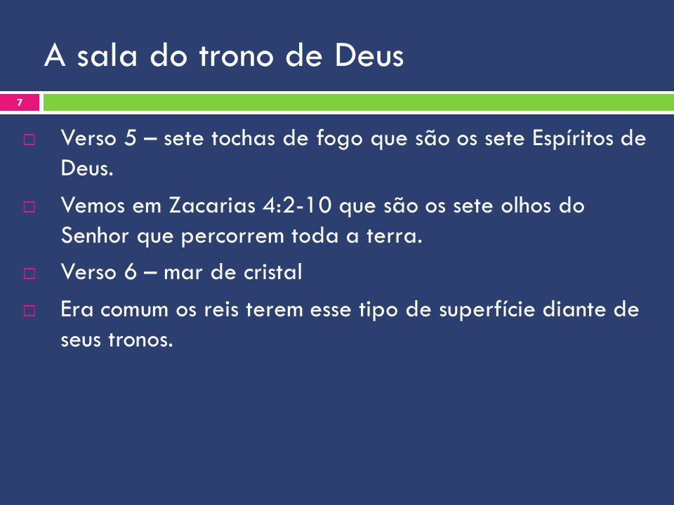 A sala do trono de Deus Verso 5 – sete tochas de fogo que são os sete Espíritos de Deus.