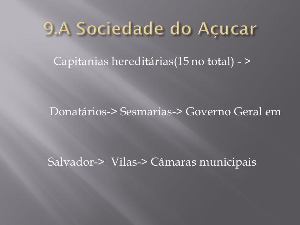 9.A Sociedade do Açucar Capitanias hereditárias(15 no total) - > Donatários-> Sesmarias-> Governo Geral em Salvador-> Vilas-> Câmaras municipais
