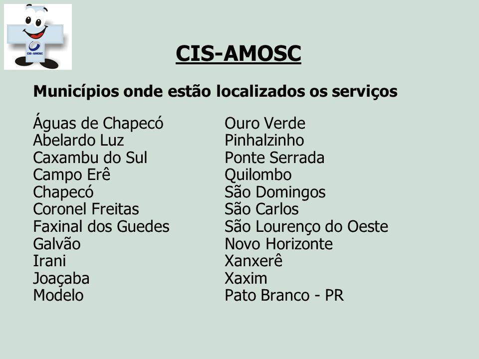 CIS-AMOSC Municípios onde estão localizados os serviços