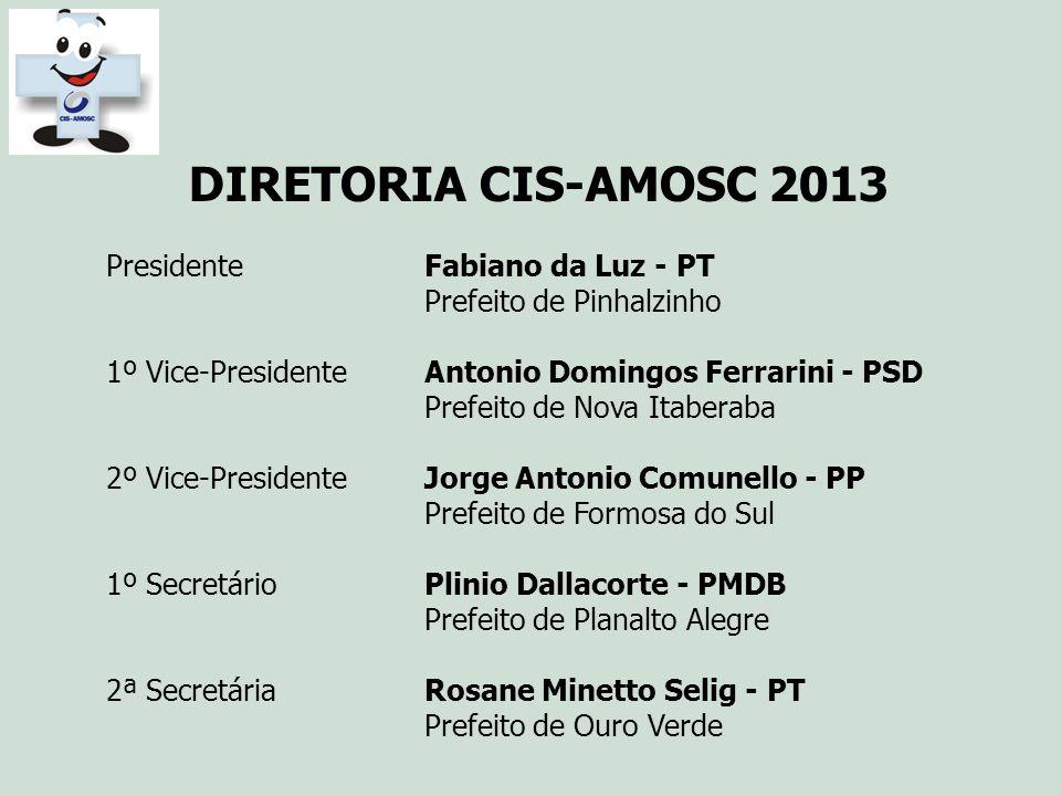 DIRETORIA CIS-AMOSC 2013 Presidente Fabiano da Luz - PT