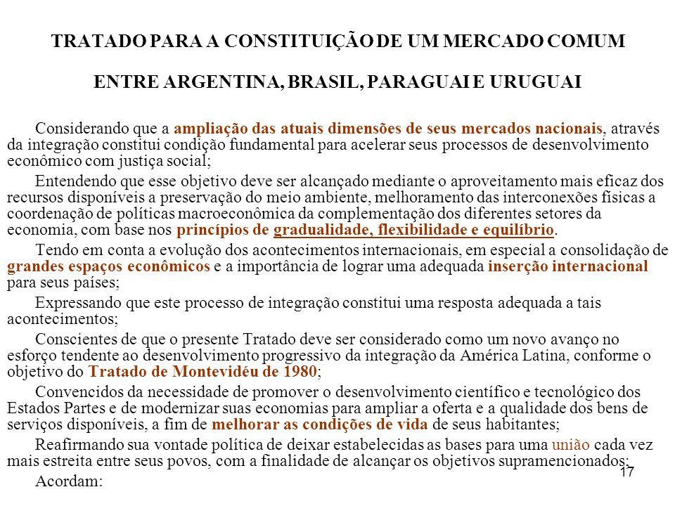 TRATADO PARA A CONSTITUIÇÃO DE UM MERCADO COMUM ENTRE ARGENTINA, BRASIL, PARAGUAI E URUGUAI