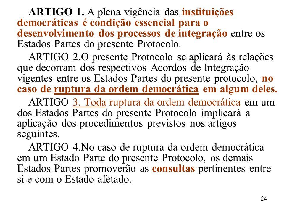 ARTIGO 1. A plena vigência das instituições democráticas é condição essencial para o desenvolvimento dos processos de integração entre os Estados Partes do presente Protocolo.