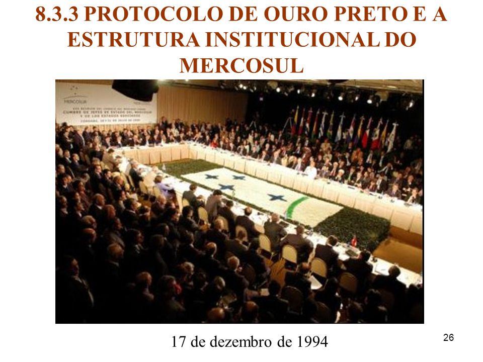 8.3.3 PROTOCOLO DE OURO PRETO E A ESTRUTURA INSTITUCIONAL DO MERCOSUL