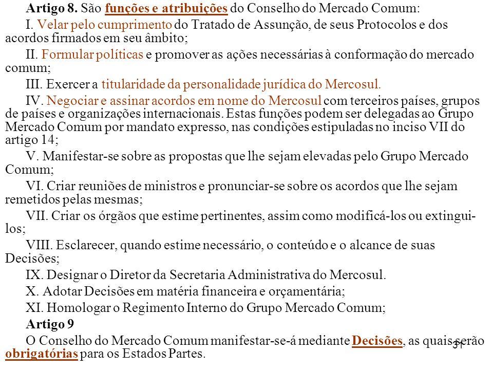 Artigo 8. São funções e atribuições do Conselho do Mercado Comum:
