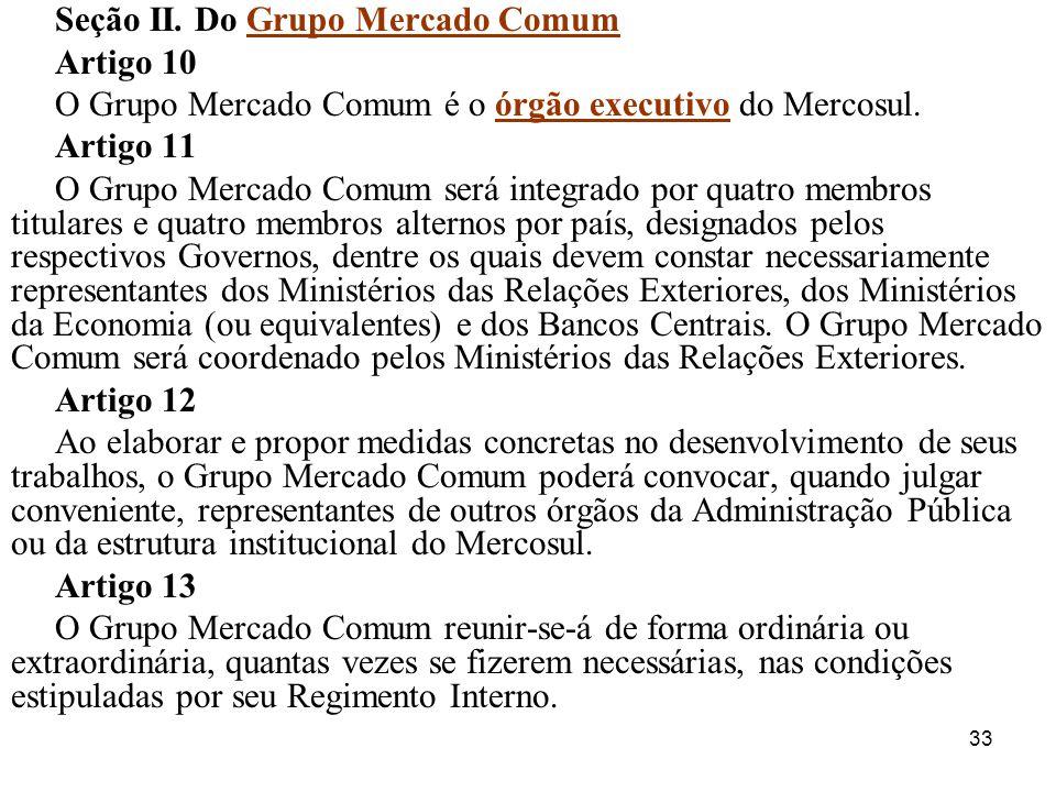 Seção II. Do Grupo Mercado Comum
