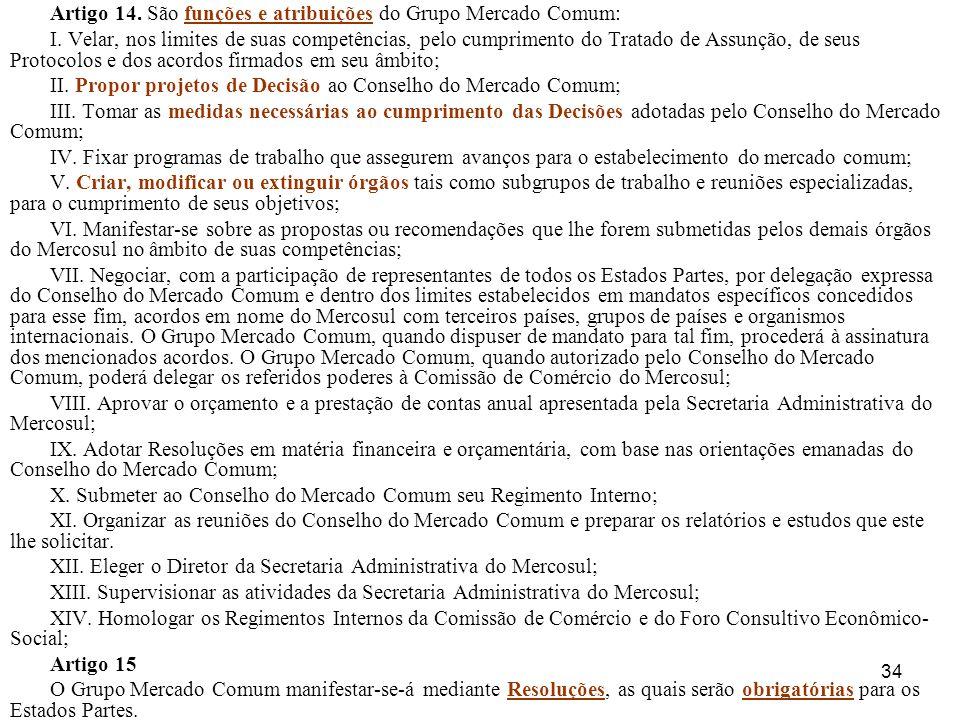 Artigo 14. São funções e atribuições do Grupo Mercado Comum: