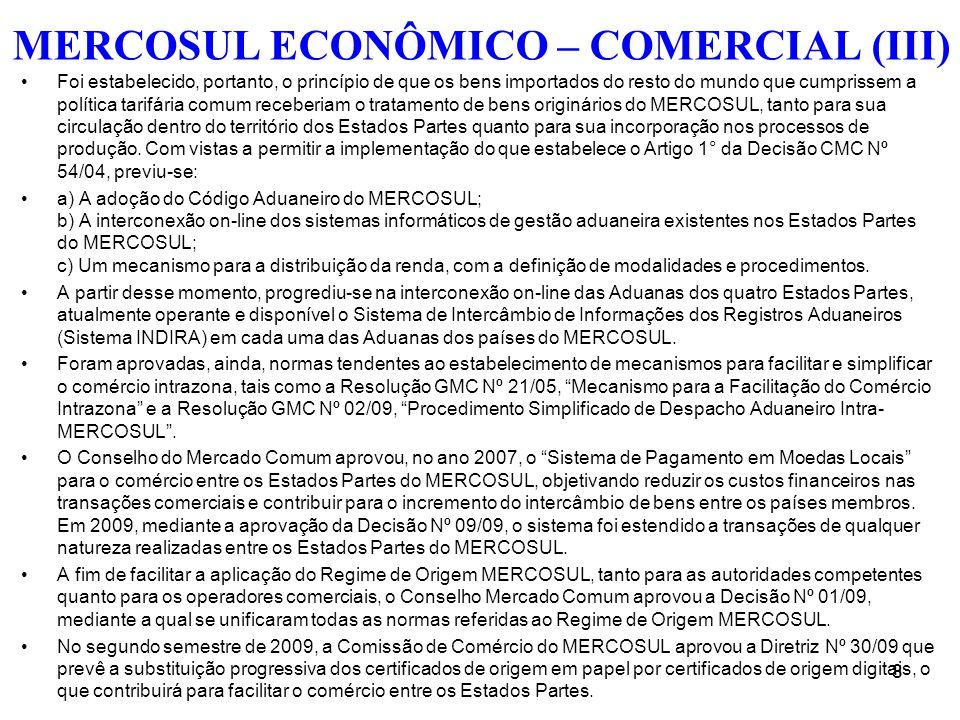 MERCOSUL ECONÔMICO – COMERCIAL (III)