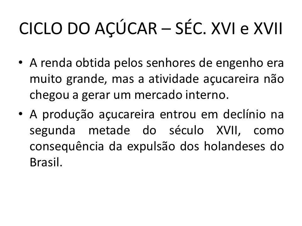 CICLO DO AÇÚCAR – SÉC. XVI e XVII