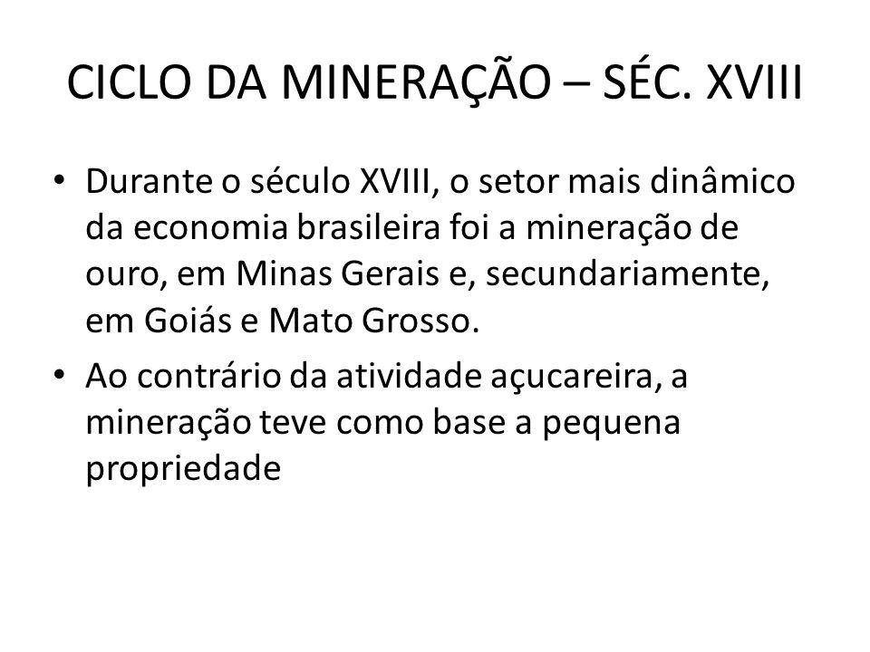 CICLO DA MINERAÇÃO – SÉC. XVIII