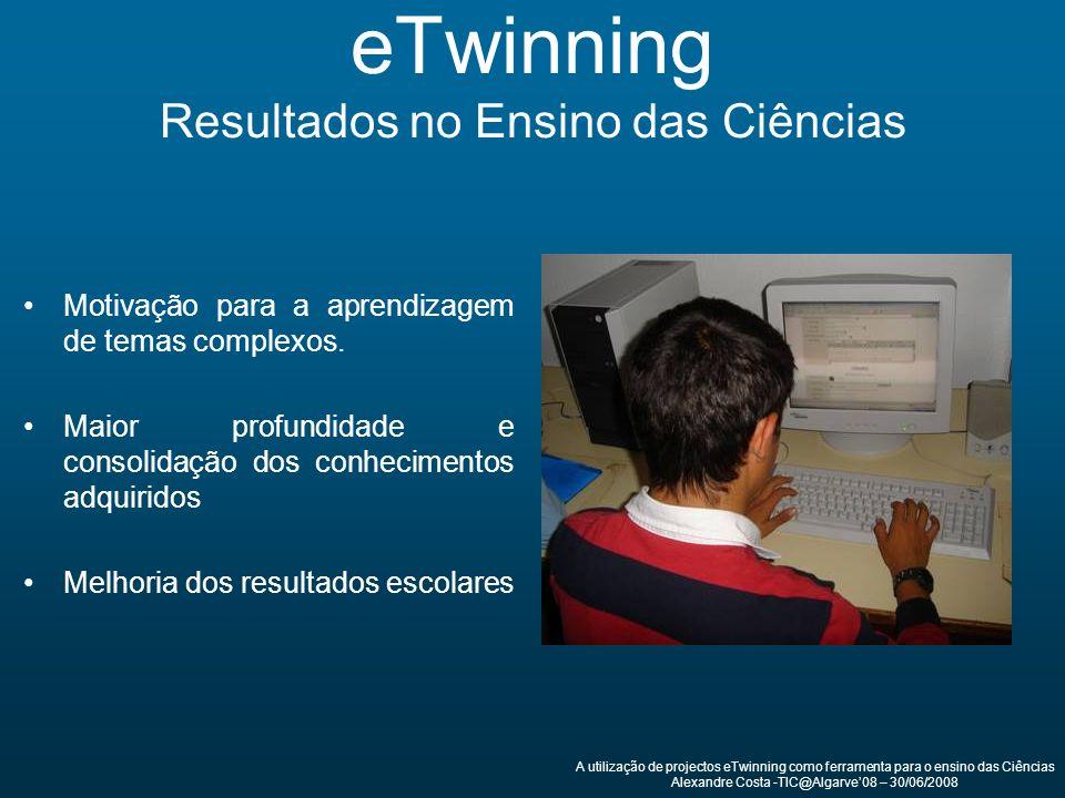 eTwinning Resultados no Ensino das Ciências