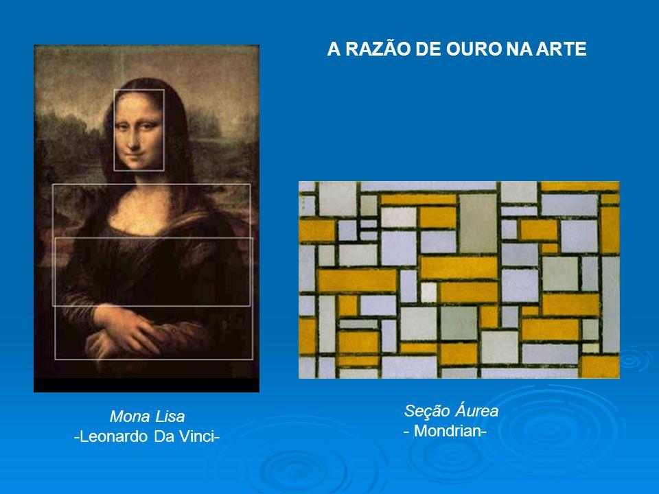 A RAZÃO DE OURO NA ARTE Seção Áurea Mona Lisa - Mondrian-