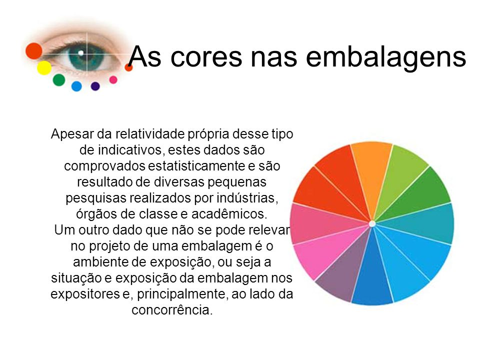 As cores nas embalagens