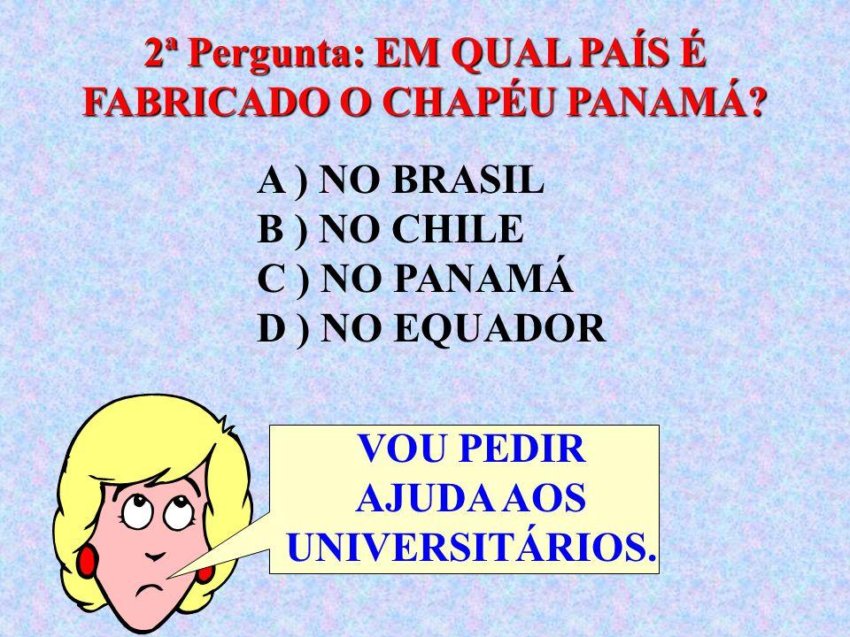 2ª Pergunta: EM QUAL PAÍS É FABRICADO O CHAPÉU PANAMÁ
