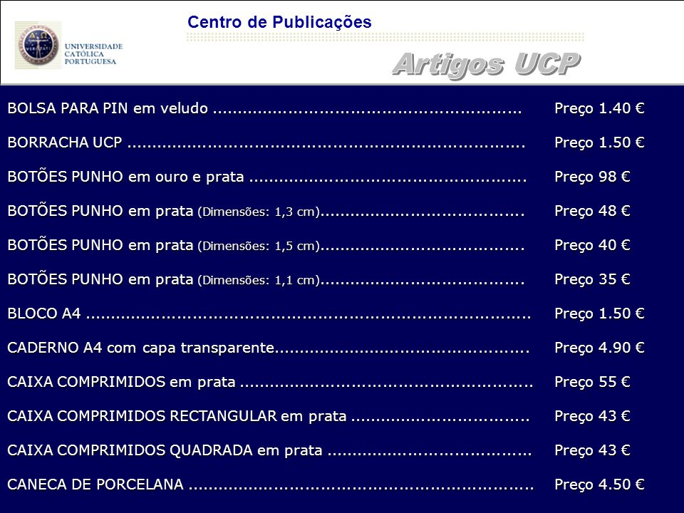 Artigos UCP Centro de Publicações