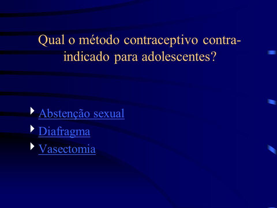 Qual o método contraceptivo contra-indicado para adolescentes