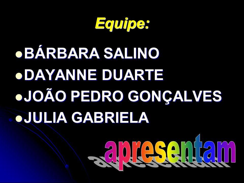 Equipe: BÁRBARA SALINO DAYANNE DUARTE JOÃO PEDRO GONÇALVES