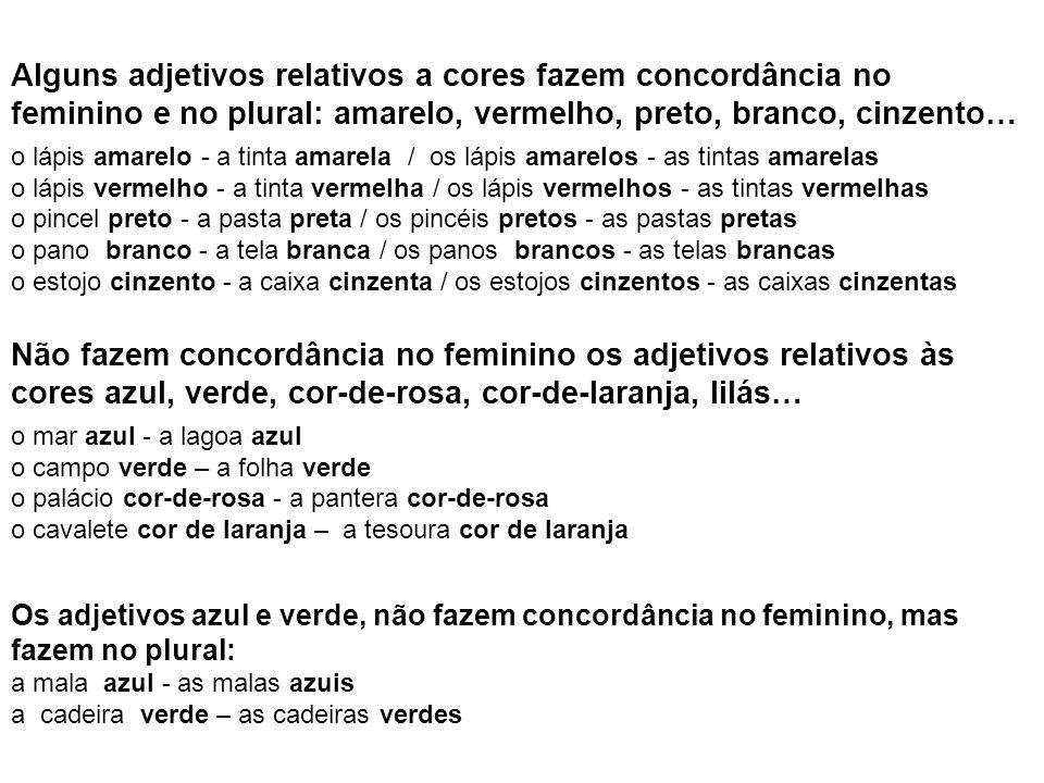 Alguns adjetivos relativos a cores fazem concordância no feminino e no plural: amarelo, vermelho, preto, branco, cinzento…
