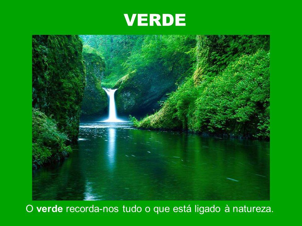 VERDE O verde recorda-nos tudo o que está ligado à natureza.