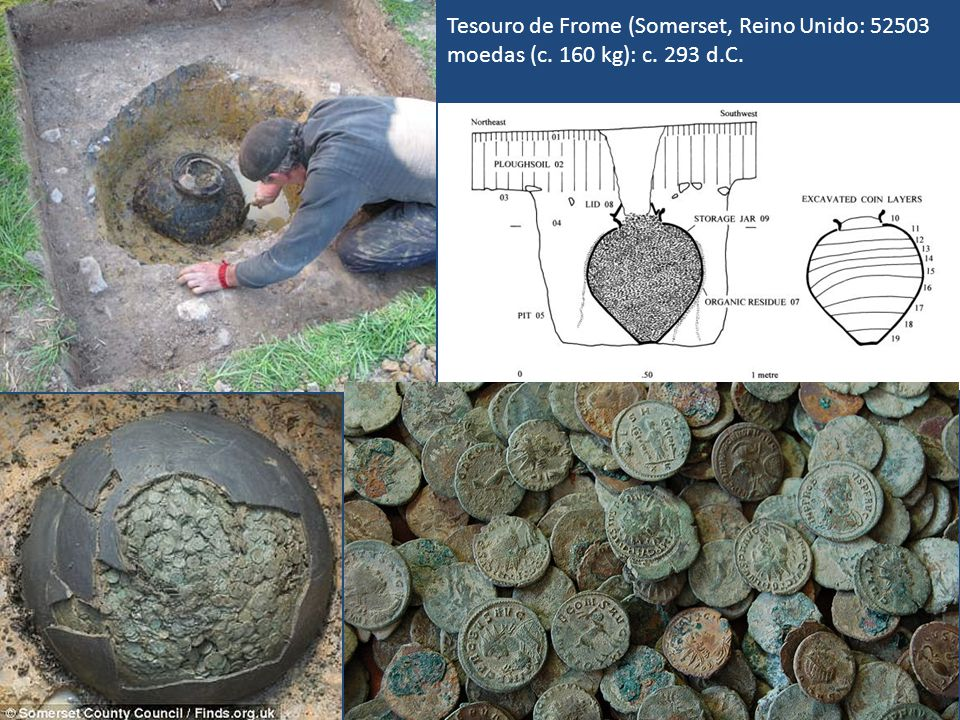 Tesouro de Frome (Somerset, Reino Unido: 52503 moedas (c. 160 kg): c
