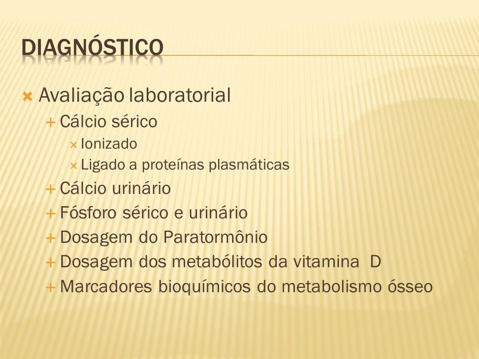 Diagnóstico Avaliação laboratorial Cálcio sérico Cálcio urinário
