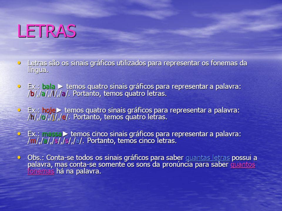 LETRAS Letras são os sinais gráficos utilizados para representar os fonemas da língua.