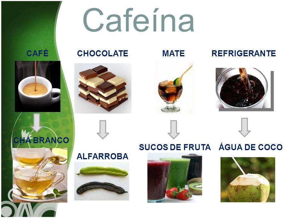 Cafeína CAFÉ CHOCOLATE MATE REFRIGERANTE CHÁ BRANCO SUCOS DE FRUTA