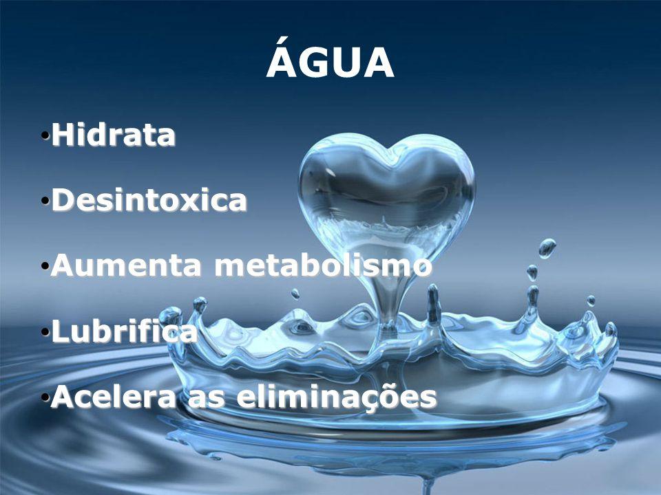 ÁGUA Hidrata Desintoxica Aumenta metabolismo Lubrifica
