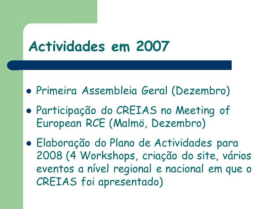 Actividades em 2007 Primeira Assembleia Geral (Dezembro)